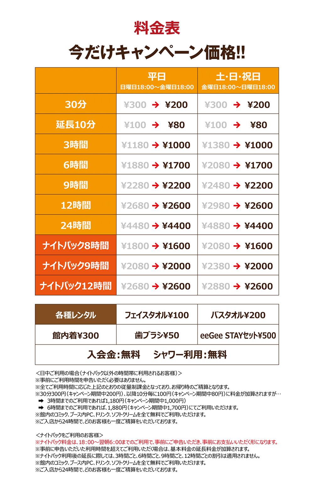ネットカフェ料金表